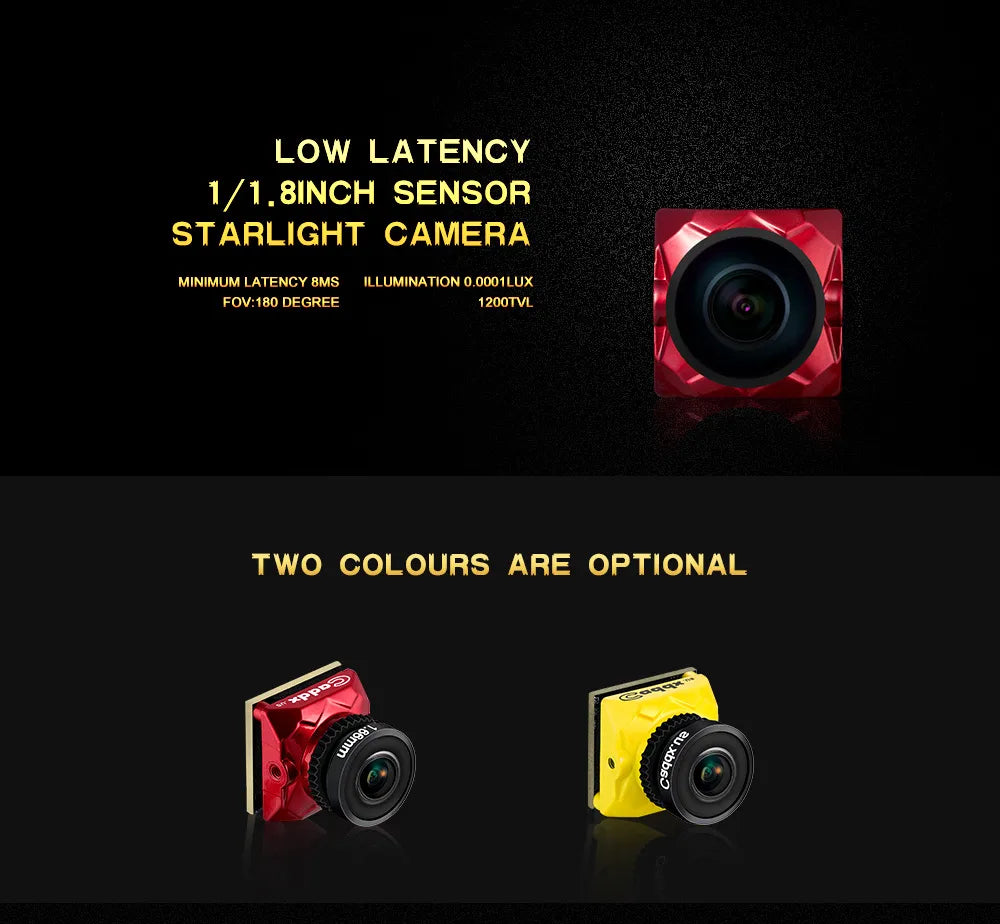 """Caddx Ratel Starlight HDR OSD 1/1.8"""" 1.66mm Lens 1200TVL FPV Camera For Racing Drone - Yellow"""