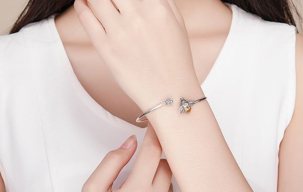 Crystal Queen Bee And Honeycomb Silver Bracelets Bangles - 925 Sterling Silver