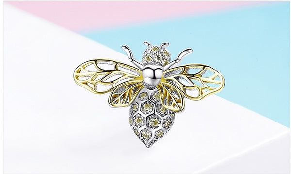 Grand Honey Bee  Pendant/Charm - Genuine 925 Sterling Silver Yellow Zircon Bee