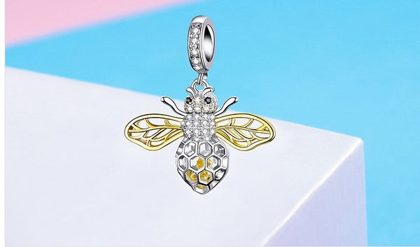 Magnificent Honey Bee Dangle Pendant/Charm - Genuine 925 Sterling Silver Clear Zircon Bee