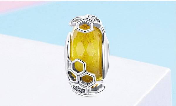 European Honeycomb Bee Glass Bead - 925 Sterling Silver