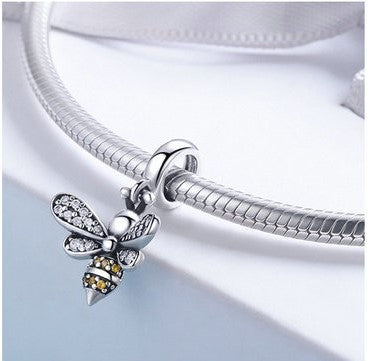 Mini Honey Bee  Dangle Pendant/Charm - Genuine 925 Sterling Silver Yellow/White Zircon Bee