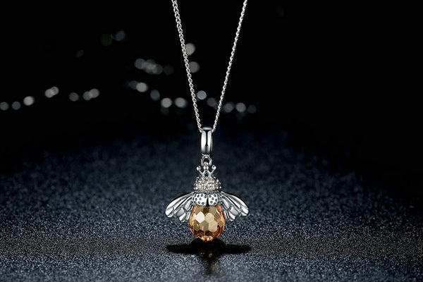 Honeybee Pendant Necklace - Sterling Silver
