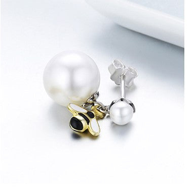 Busy Bee Pearl Stud Earrings