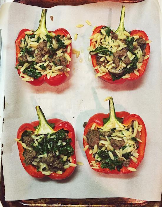 Orzo and Elk Stuffed Peppers