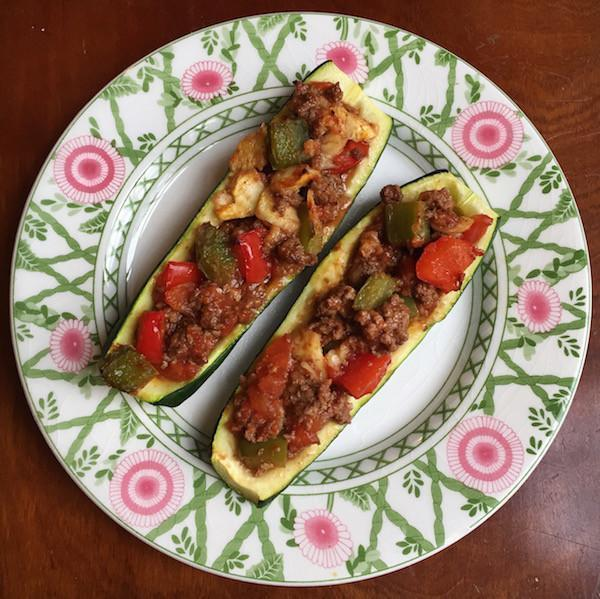 Pepper and Bison Stuffed Zucchini Boats