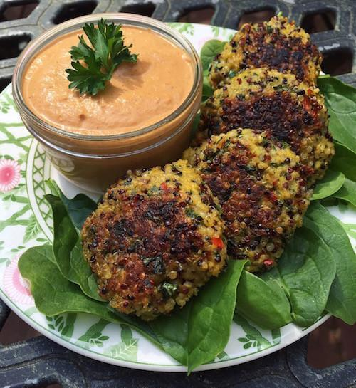 Spinach and Red Pepper Quinoa Patties with Chipotle Cashew Sauce
