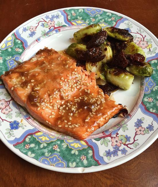 Teriyaki Salmon and Roasted Brussels Sprouts with Sun-dried Tomatoes