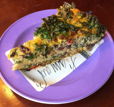 Sun-Dried Tomato and Kale, Venison Quiche