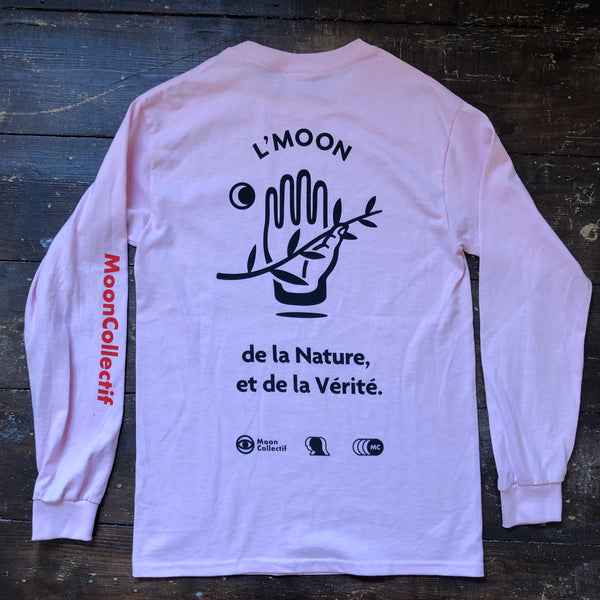 L'Moon Longsleeve T-Shirt (Light Pink) by Moon Collective