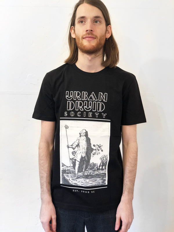Urban Druid Front Print Black Tee by Family Store
