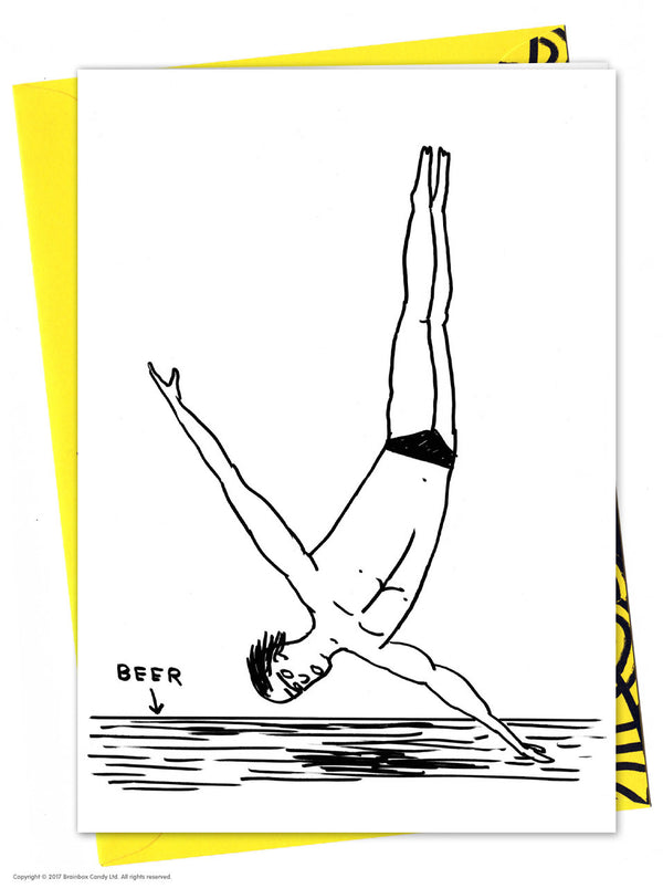 Beer Diver Card by David Shrigley