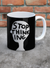 Stop Thinking Mug by David Shrigley