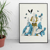 Saint David (Gold and blue) Riso print by Louise Pomeroy.