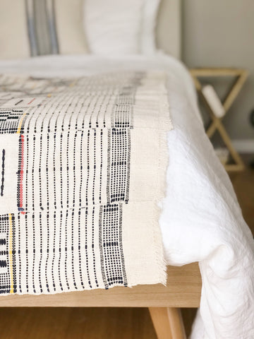 Woven throw on top of bed comforter