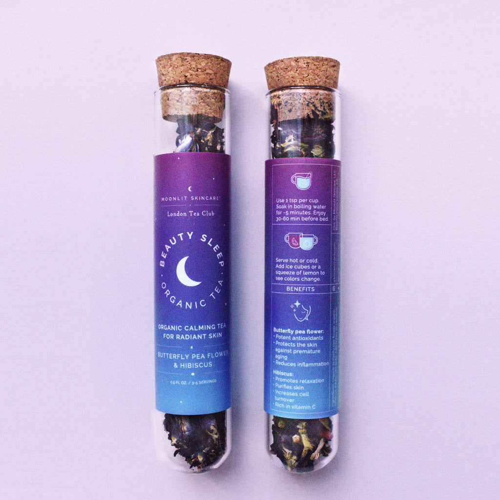 front and back of package of beauty sleep tea pictured side by side