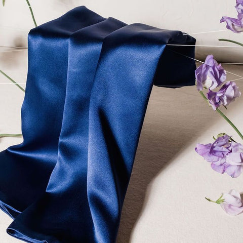 Navy silk pillowcase with lavender flowers