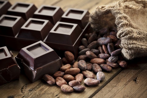 Dark chocolate squares and cocoa beans