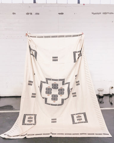 Large woven geometric white throw/blanket/tapestry