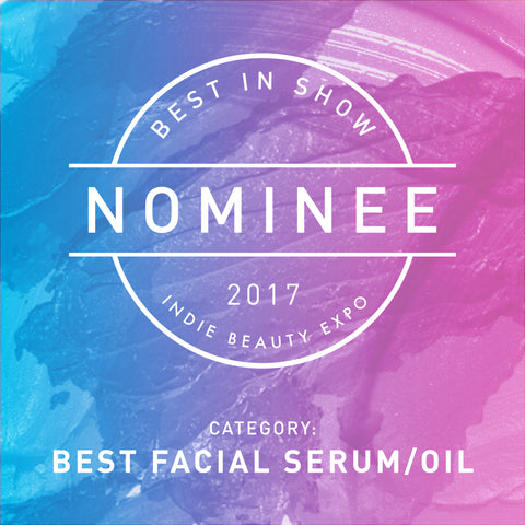 Nominee badge for 2017 Indie Beauty Expo's Best Facial Serum/Oil
