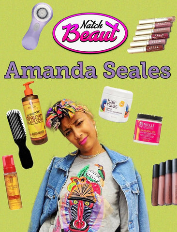 Amanda Seales and various beauty products featured on the Natch Beaut podcast