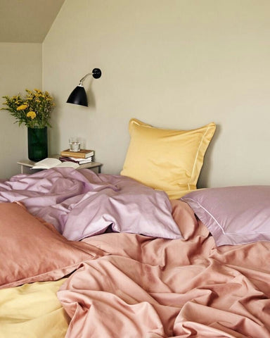 Colorful pink and yellow bedding