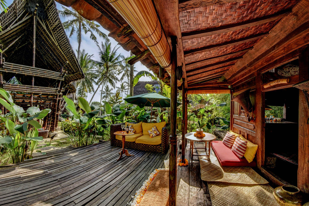 Bambu Indah's eco-village, featuring bamboo houses and plantlife