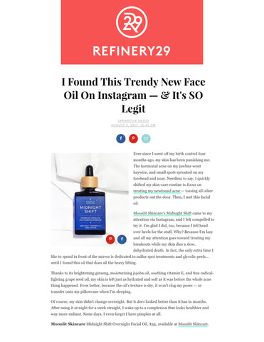 Refinery29's Samantha Sasso reviews Midnight Shift overnight facial oil