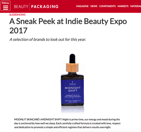 Midnight Shift facial oil featured in Beauty Packaging for unique packaging and messaging