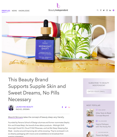 Moonlit Skincare feature in Beauty Independent, about brand inspiration and story