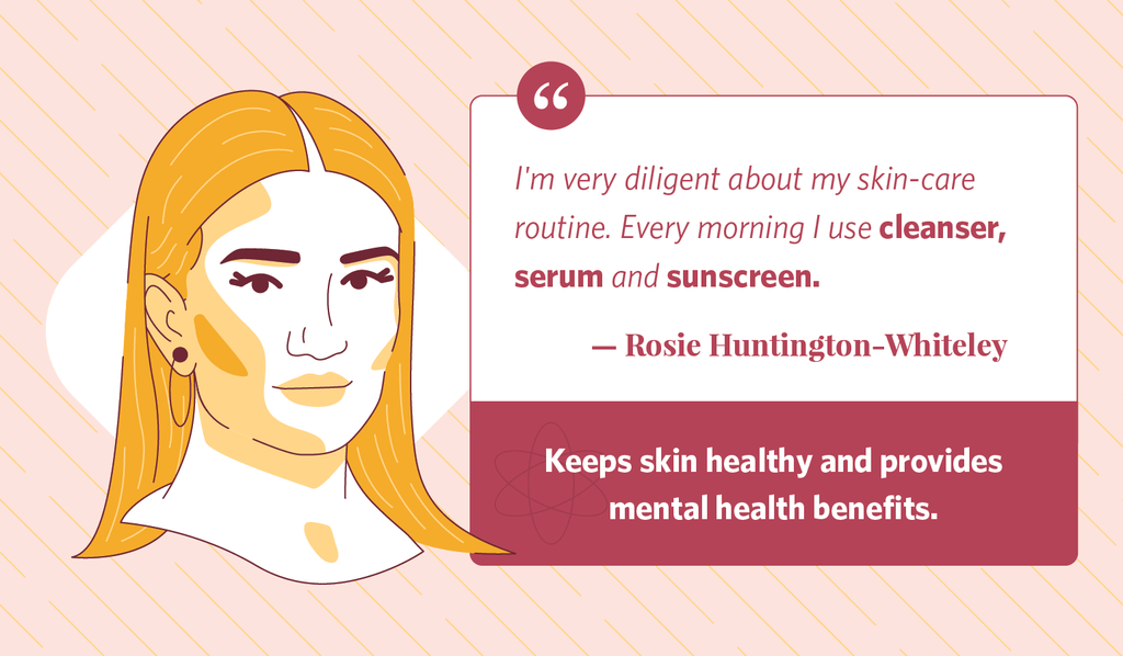 Illustration of Rosie Huntington-Whiteley next to a blurb of her morning routine