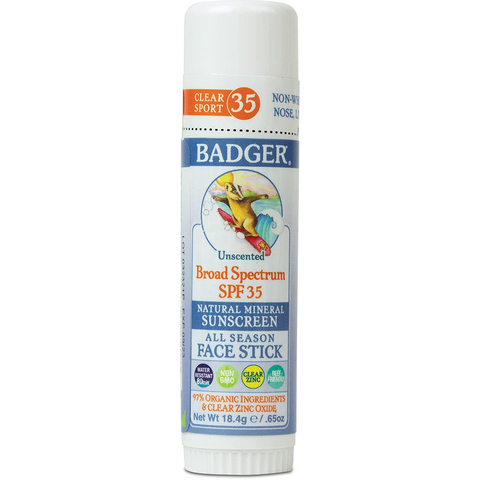 Badger Face Stick Sunscreen with white background