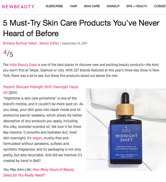 Midnight Shift facial oil featured in New Beauty as a must-try skincare product