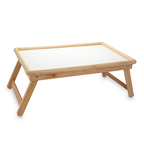 Rectangular wooden serving tray with white top