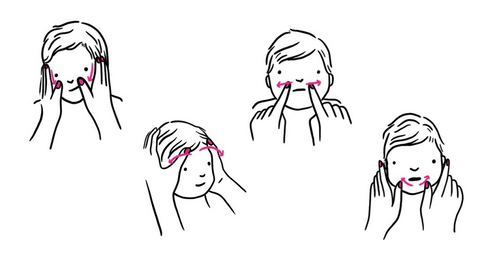 Illustration of 4 infant facial massage techniques