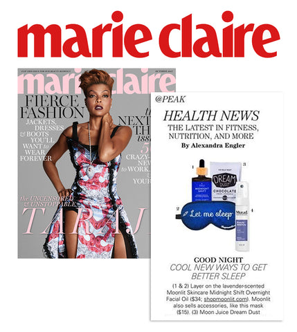 Front cover of Marie Claire Moonlit's Midnight Shift and 'Let Me Sleep' silk eye mask feature