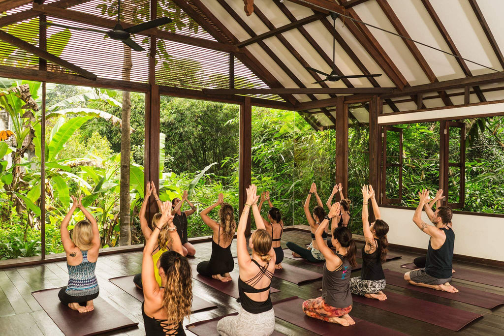 Women in yoga class with their hands pressed above their heads in balinese yoga retreat center