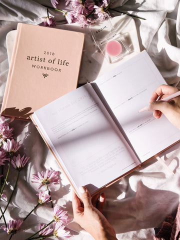 Pink cover and pages of Lavendaire - 2018 Artist of Life Workbook