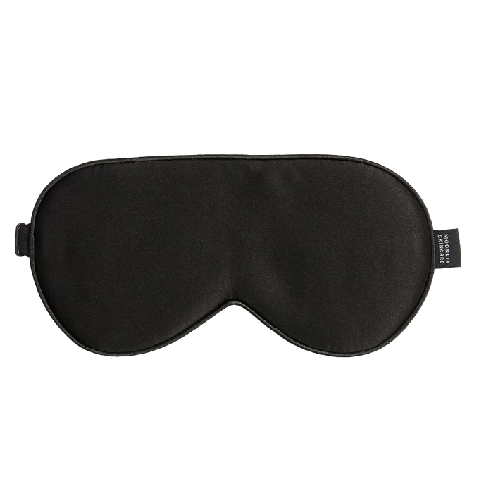 Blackout black unisex Moonlit skincare silk eyemask on white background