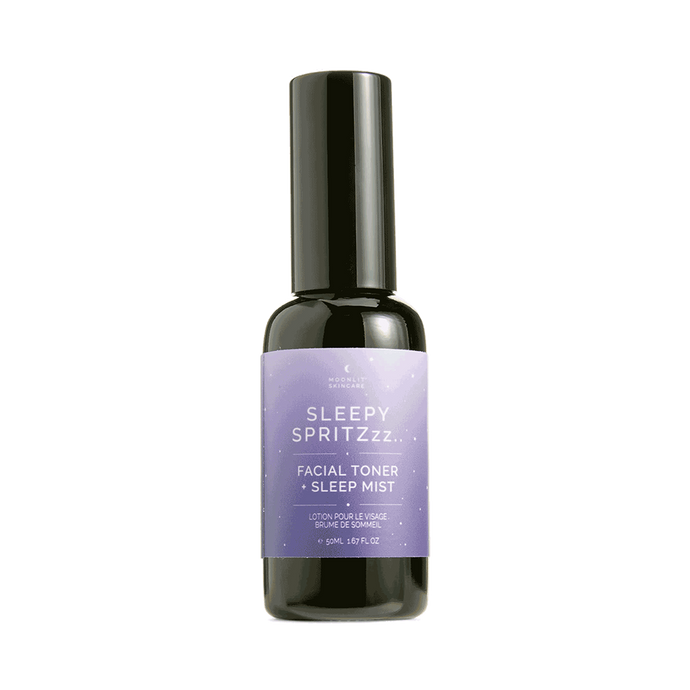 Moonlit Skincare Sleepy Spritzzz facial toner and sleepy pillow mist on white background