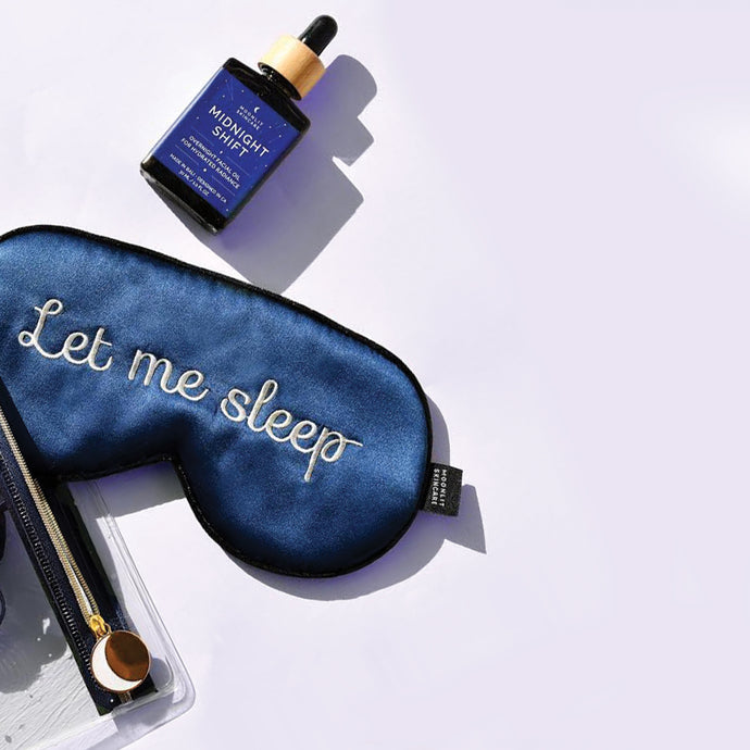 'Let Me Sleep' Silk Sleeping Eye Mask and Midnight Shift Overnight Facial Oil taken out of Constellation Travel Pouch.