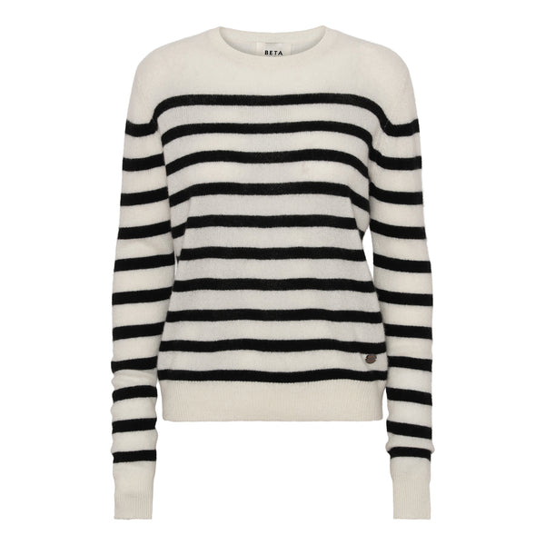 Bibi striped O-neck - Off White/Black