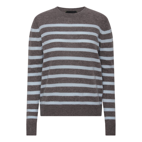 Bibi striped O-neck - Mole/Light Blue Stripe