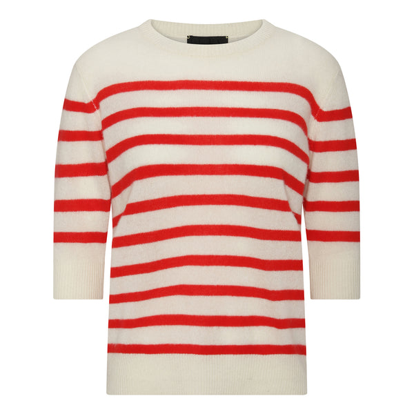 Lady Sleeve Striped Cashmere - Off White/Red Stripe