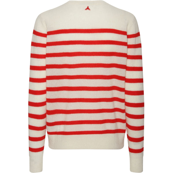 Bibi striped O-neck - Off White/Red Stripe