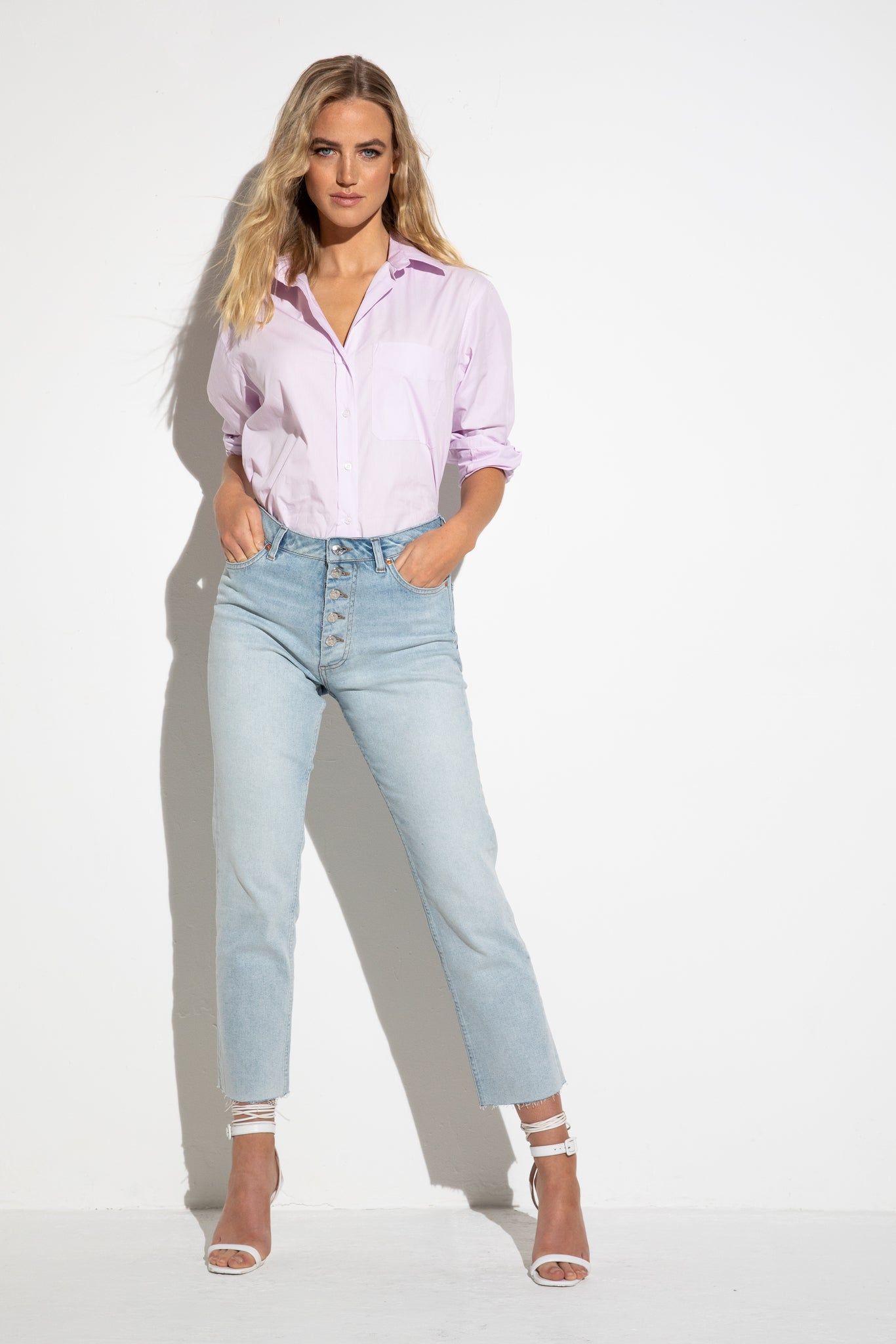 The Button Crop Light Blue