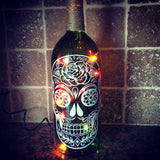 Handmade Sugar Skull Wine Bottle with Colored Lights