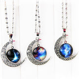 Hollow Moon Glass Pendant Necklaces