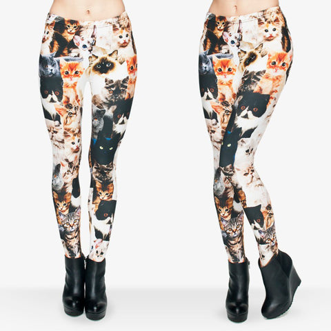 3D Girls Funny Leggings - Cute Cats Printed