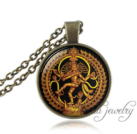 Golden Buddha Necklace - Dancing Shiva